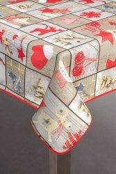 Obrus PATRICK Świąteczny 85X85 Srebrno Czerwony