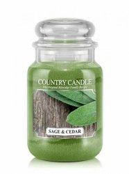 Country Candle - Sage and Cedar - Duży słoik (652g) 2 knoty