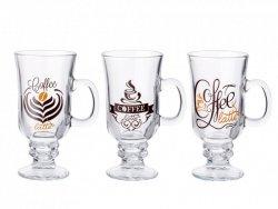 KUBEK IRISH COFFEE TIME SZKLANY 210ML - MIX 3 DEKORACJI