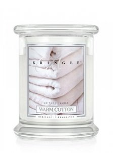 Kringle Candle - Warm Cotton - średni, klasyczny słoik (411g) z 2 knotami