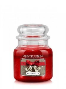 Country Candle - Silver Bells - Średni słoik (453g) 2 knoty