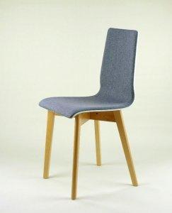 LUKA SOFT W -  krzesło drewniane biało-szare, bukowa rama