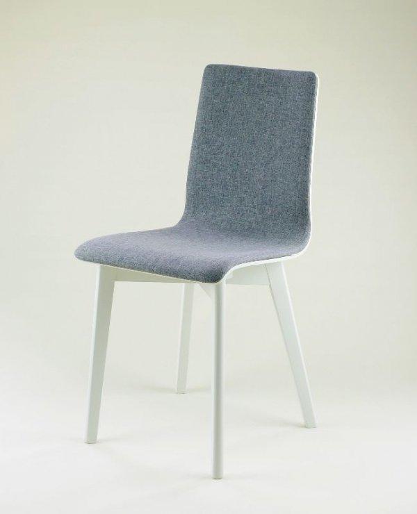 LUKA SOFT W - krzesło drewniane biało-szare