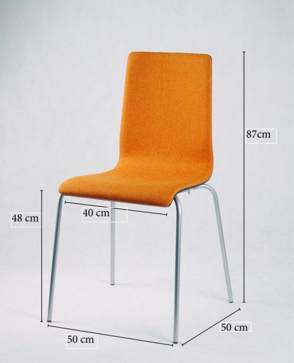 LUKA SOFT - krzesło ze sklejki, metalowa rama, pomarańczowa tapicerka