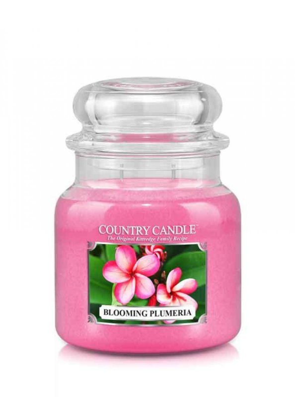Country Candle - Blooming Plumeria -  Średni słoik (453g) 2 knoty