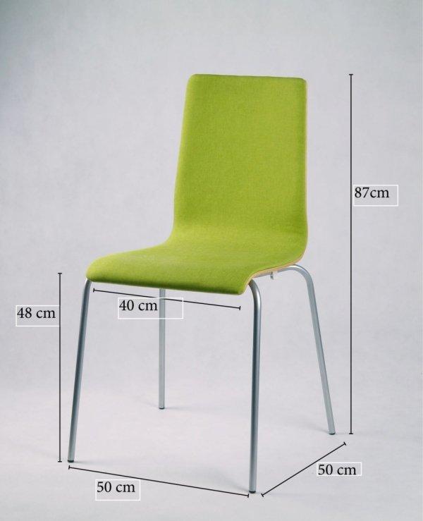 LUKA SOFT - krzesło ze sklejki, metalowa rama, zielona tapicerka