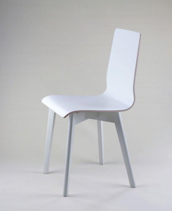 LUKA W - krzesło laminowane białe, biała rama