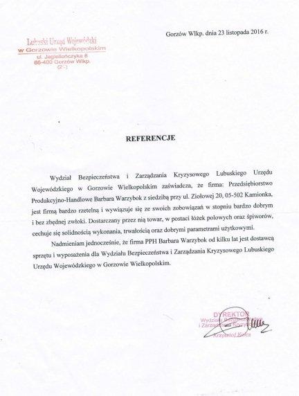 Referencje Lubuskiego Urzędu Wojewódzkiego w Gorzowie Wielkopolskim