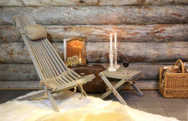 Leżak drewniany Ecofurn z podnóżkiem lilly