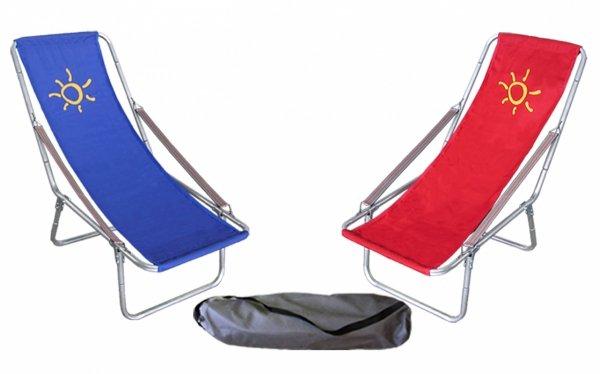 Leżak plażowy składany do torby podłokietnik pasek  tkanina bawełniana
