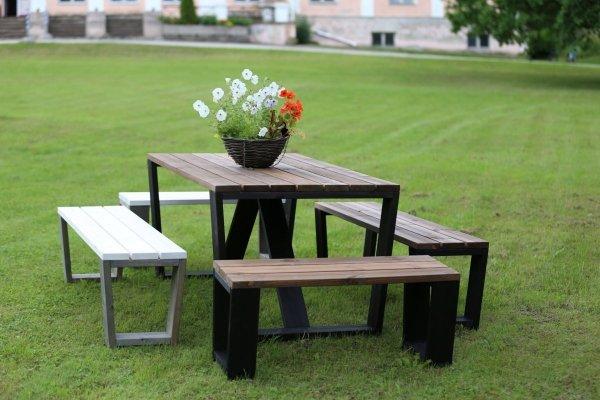 Ławki drewniane Jussi ze stołem