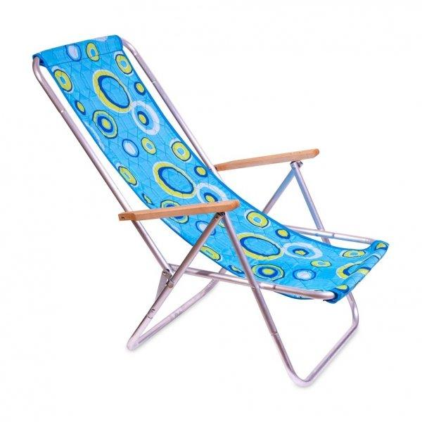 Hit lata - Leżak plażowy, składany do pokrowca z drewnianymi podłokietnikami