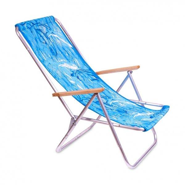 leżak plażowy z rurki aluminiowej tkanina delfin