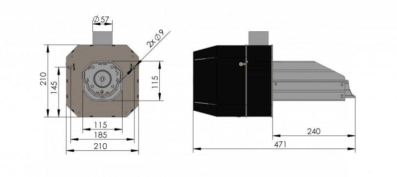 Rysunek palnik basic rynnowy 6-26 kw