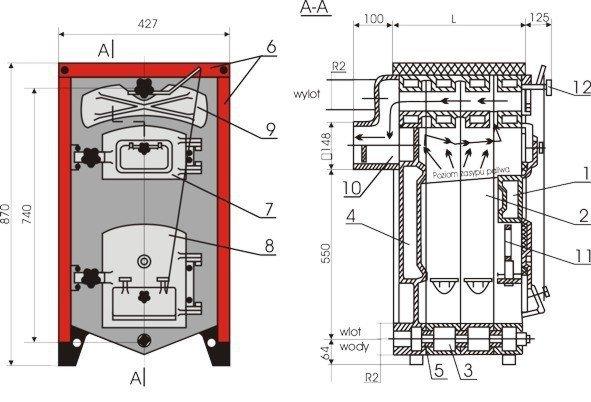 Kocioł żeliwny, piec KWD - Camino 3/6 - 15.35 KW Tylko na Eksport