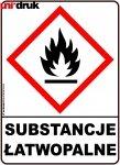 Naklejka ostrzegawcza Substancje Łatwopalne