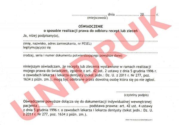 Oświadczenie o sposobie realizacji prawa do odbioru recept