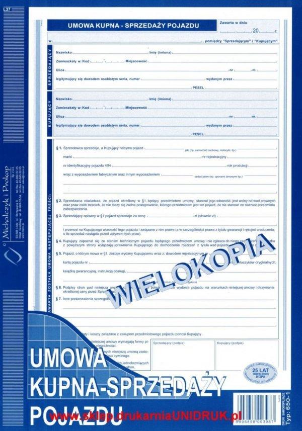 Umowa kupna-sprzedaży pojazdu - wielokopia