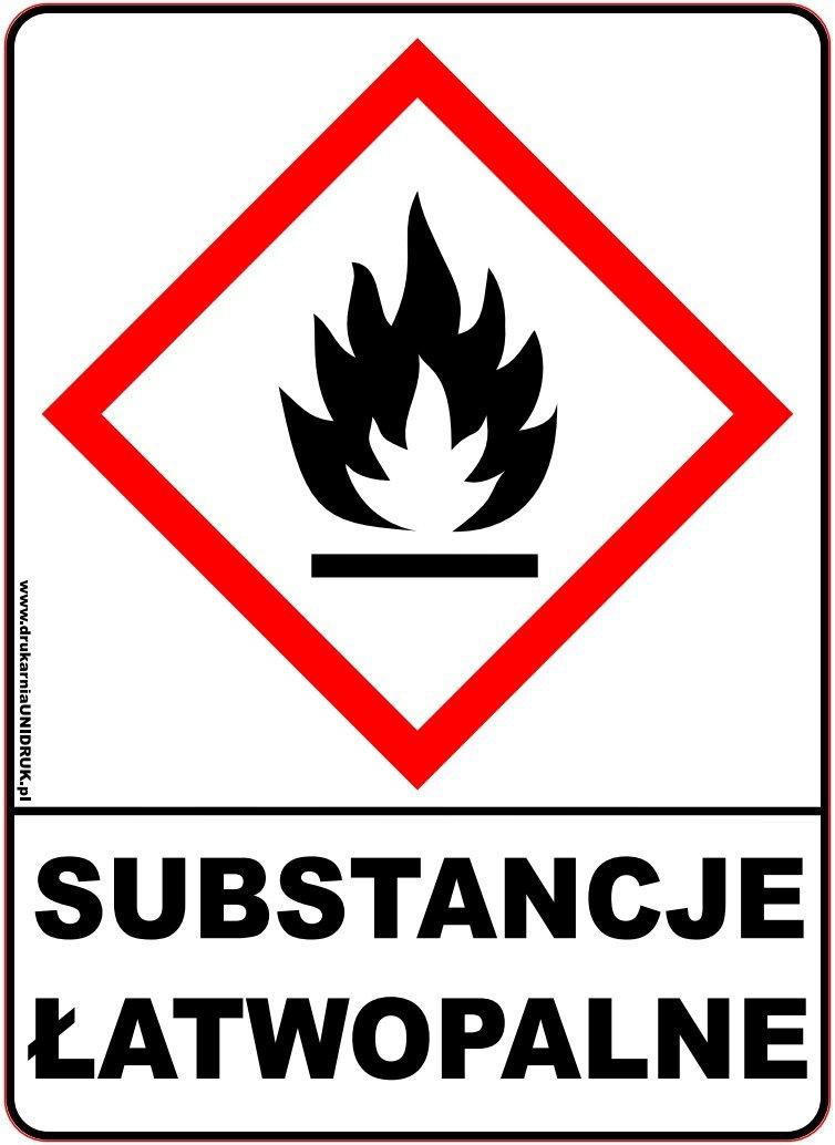 """Naklejka ostrzegawcza """"Substancje Łatwopalne"""""""