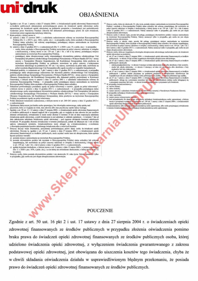 Oświadczenie o prawie do świadczeń - dzieci - druk