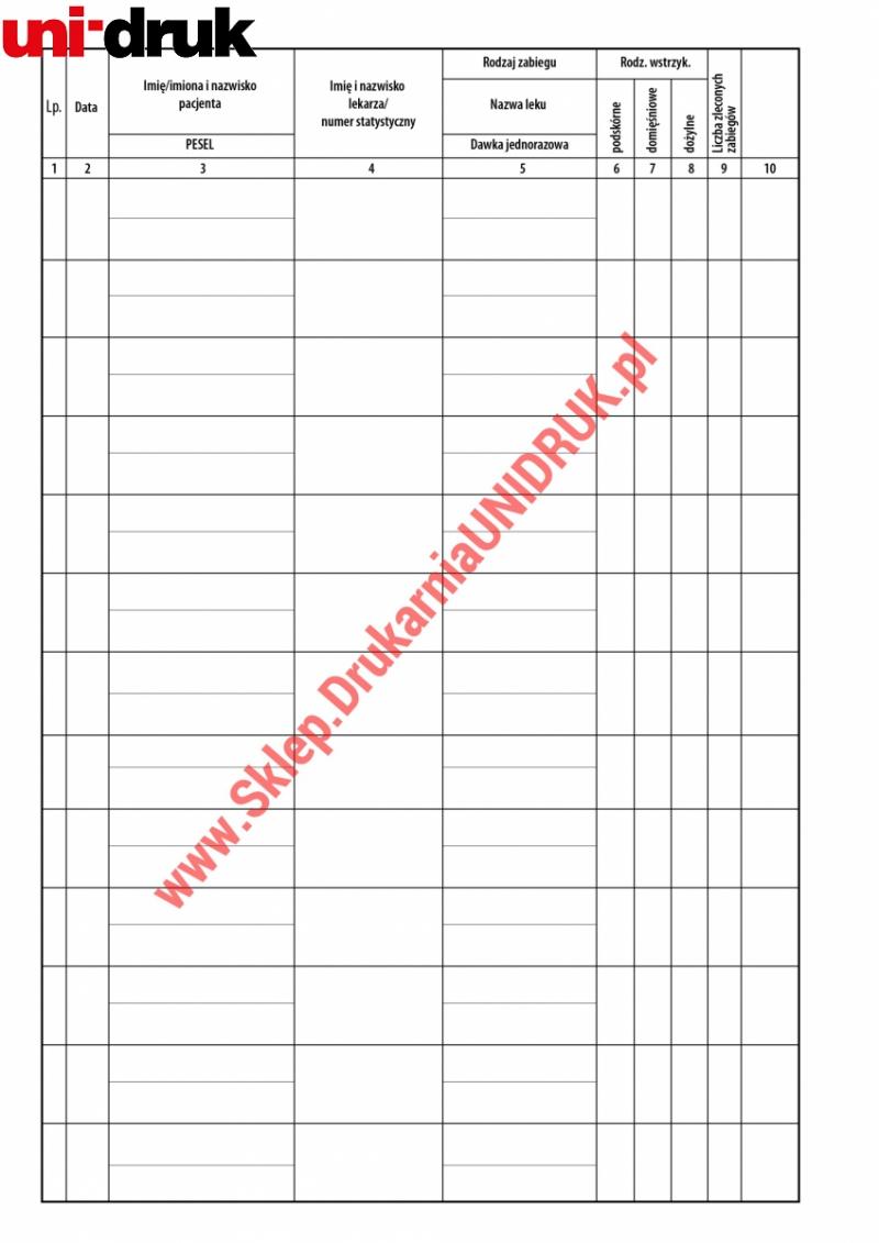 Książka Gabinetu Zabiegowego A4 - 100 kart