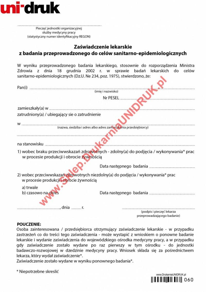 Orzeczenie lekarskie dla osób pracujących przy produkcji żywności - druk