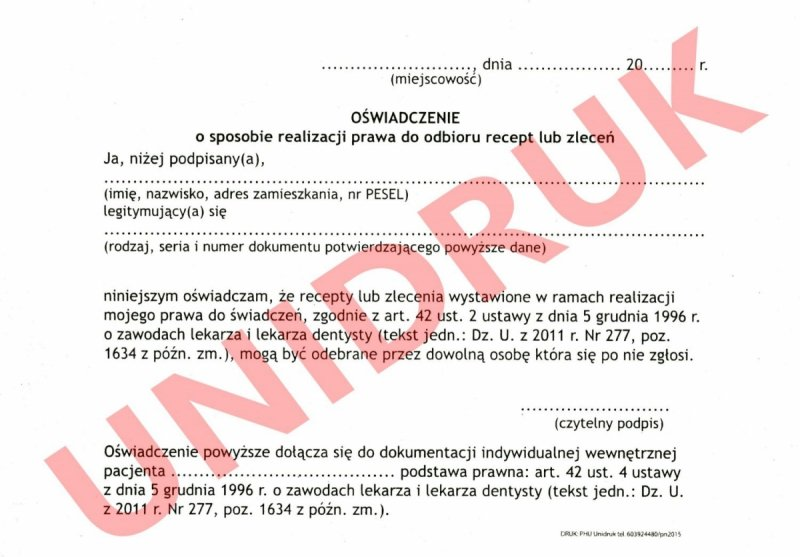 Oświadczenie o sposobie realizacji prawa do odbioru recept - druk