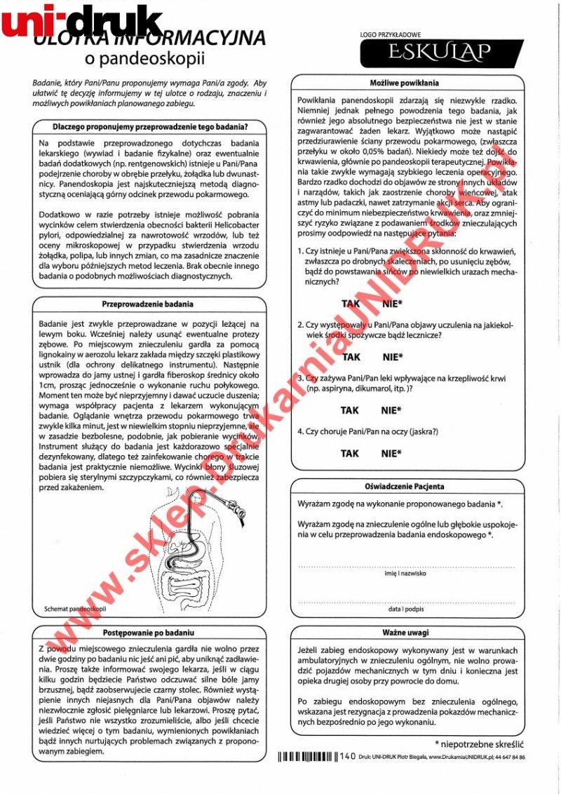 Ulotka informacyjna o pandeoskopii - druk