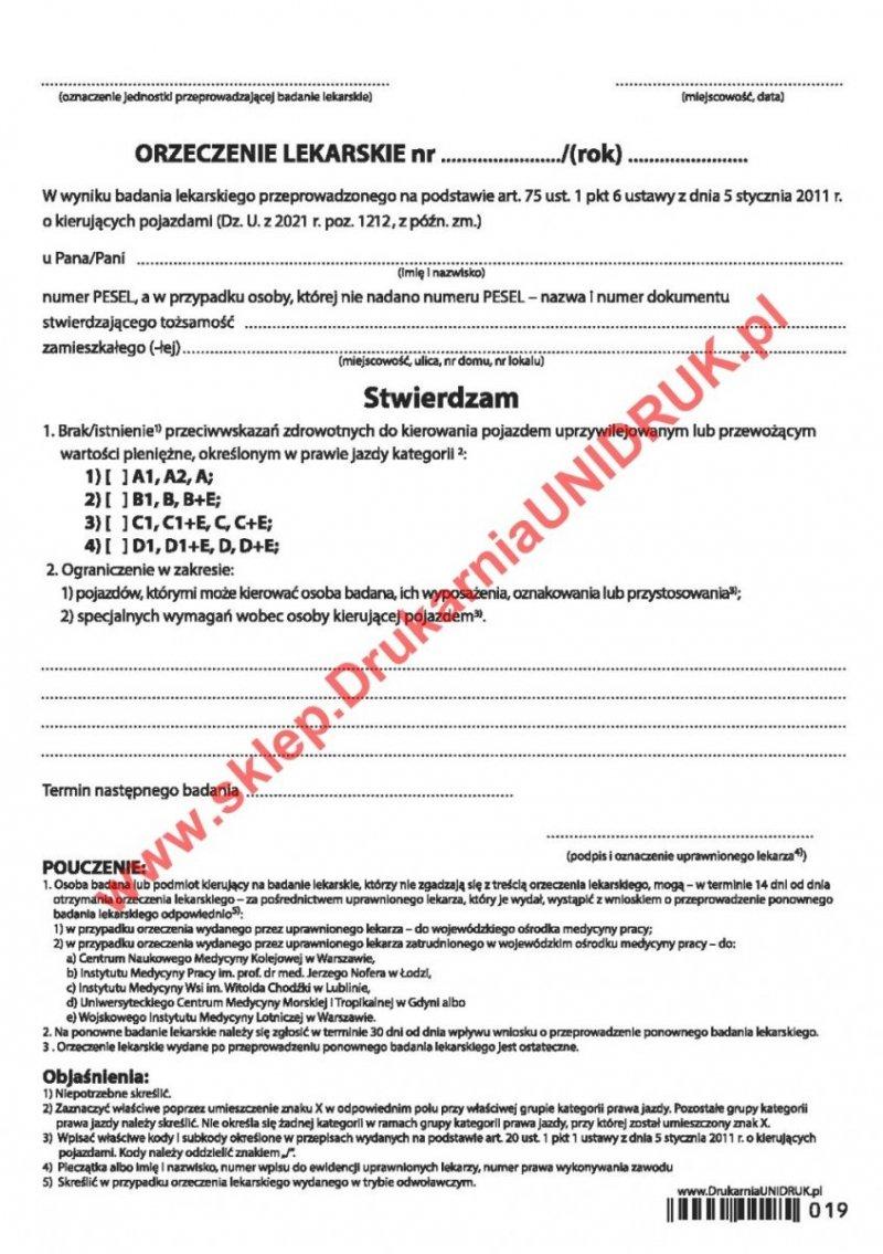 Orzeczenie lekarskie dla kierujących pojazdami uprzywilejowanymi - druk