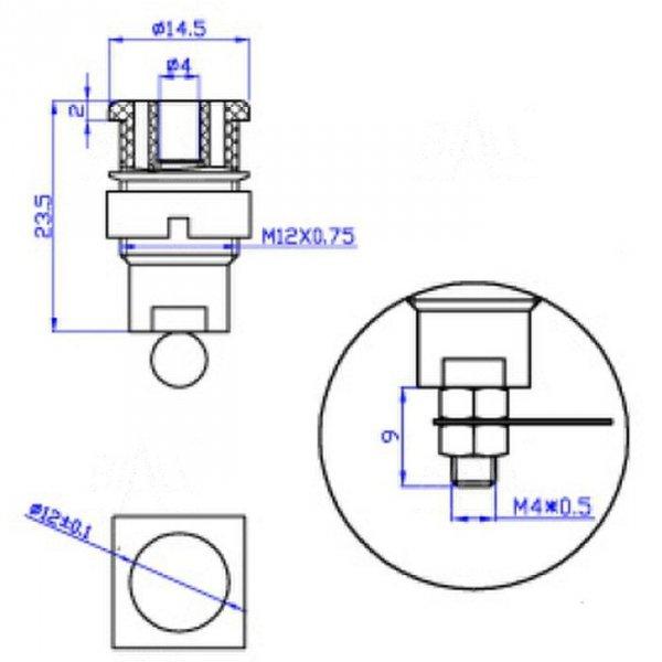 Gniazdo panelowe bezp. 4mm GLP301-BU 32A CAT II 1000V niebieski