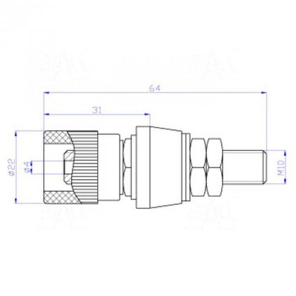 Gniazdo lab. 4mm z zaciskiem GLZ935-BK 80A, czarny