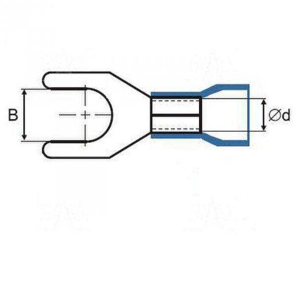 ZKW2.5-4.3R Końcówka widełkowa złocona M4,