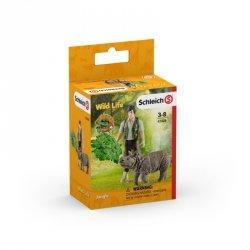 Schleich Figurki Leśniczy i indyjski nosorożec