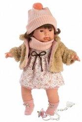 Llorens Lalka płacząca Pippa brunetka beżowe futerko 42152 42 cm