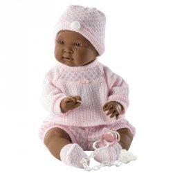 Lalka bobas 45 cm różowe body ciemnoskóra