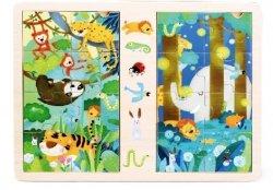 Brimarex Gra i puzzle drewniane TOP BRIGHT - Dżungla, 2 x 8 elementów