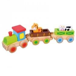 BINO Drewniany pociąg z klockami 35cm