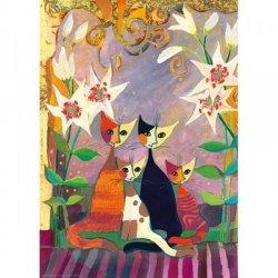 Puzzle 1000 elementów Koty i lilie