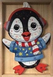 Puzzle drewniane w drewnianej ramie - Pingwin 26 el.