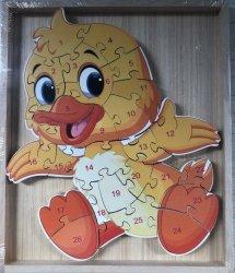 Puzzle drewniane w drewnianej ramie - kaczuszka 26 el.