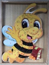Puzzle drewniane w drewnianej ramie - pszczółka 26 el.