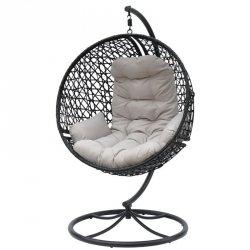 Huśtawka Fotel Wiszący Cocoon Obrotowy Look 360 Czarny/Jasny Szary