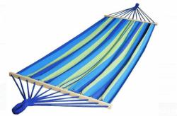 Hamak z listwą duży 320x150cm niebiesko-zielone pasy