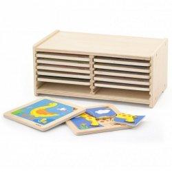 Puzzle drewniane 12 plansz po 4 puzzle w stojaku Viga Toys
