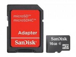 Sandisk microSD Card 16GB + Adapter 16 GB, MicroSDHC, SD adapter