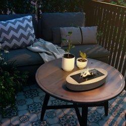 Tenderflame Table fireplace Carnation 90 MgO Diameter 33 cm, 7 cm, 500 ml, 5 hours, Grey