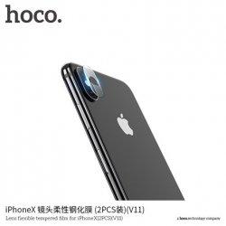 Hoco. Lens flexible (V11) 2 pcs Camera protector, Apple, iPhone X, Tempered film, Transparent