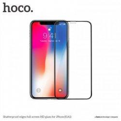Hoco. Shatterproof edges full screen ( A1 ) Screen protector, Apple, iPhone X, HD glass, Black