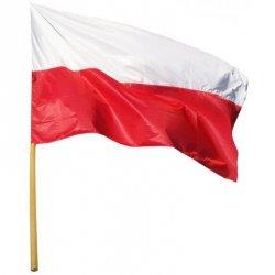 Flaga narodowa Polska 112X70cm z drzewcem 120cm