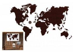 Drewniane puzzle 3D Wooden.City Mapa Świata XXL Dark Oak #T1